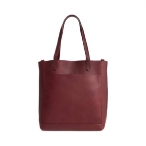 leather tote with strap